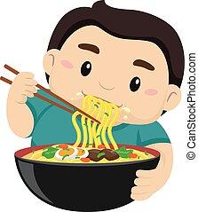 garçon, nouilles, manger, baguette, utilisation