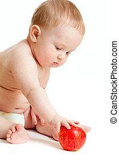 garçon, nourriture mangeant, bébé sain, isolat