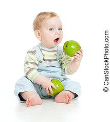 garçon, nourriture mangeant, isolé, bébé sain