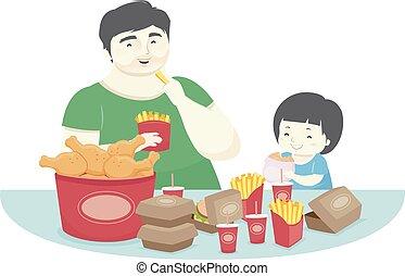 garçon, nourriture, père, illustration, dîner, jeûne, gosse