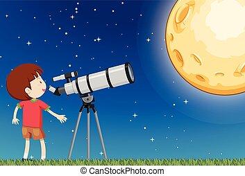 garçon, observer, lune
