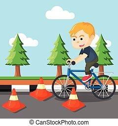 garçon, obstacle, équitation bicyclette