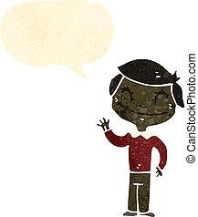 garçon, onduler, parole, retro, bulle, dessin animé