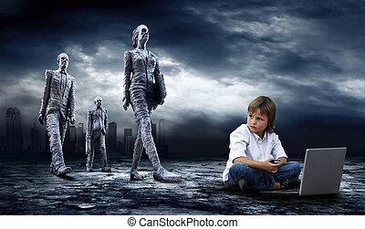 garçon, ordinateur portable, ciel, éclair, sombre, world., crise