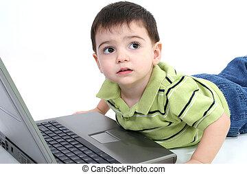 garçon, ordinateur portable, enfant