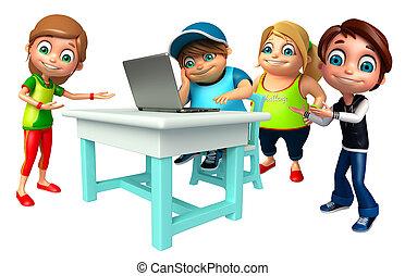garçon, ordinateur portable, girl, gosse