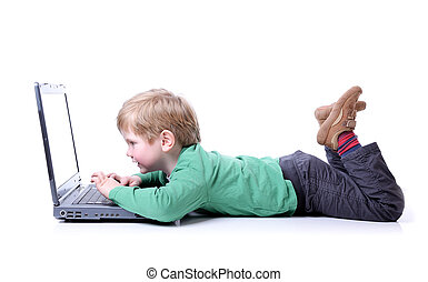 garçon, ordinateur portable, jeune
