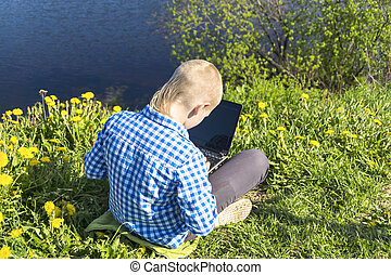 garçon, ordinateur portable, riversi, dix, année
