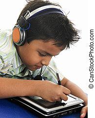 garçon, ordinateur portable, sien