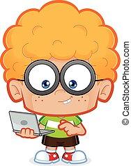 garçon, ordinateur portable, sien, nerd