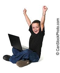 garçon, ordinateur portatif, jeune, fonctionnement