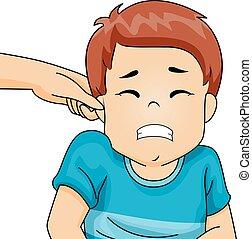 garçon, oreille, pincement, gosse, crispation