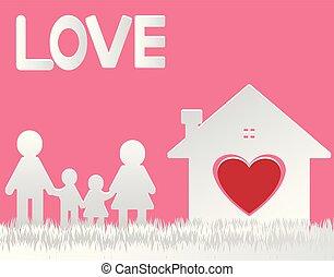 garçon, papa, main, papier, maison, coeur, girl., love., coupure, famille, debout, maison, heureux, vector., secousse, maman
