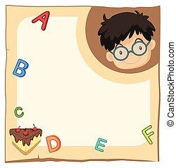 garçon, papier, heureux, gabarit, alphabets