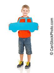 garçon, papier, jeune, tenue, voiture