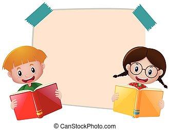 garçon, papier, livre, gabarit, lecture fille