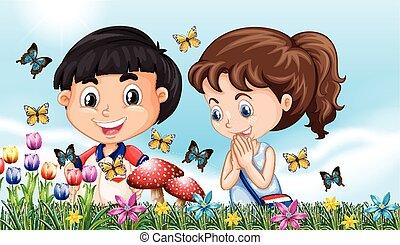 garçon, papillons, entiers, jardin, girl