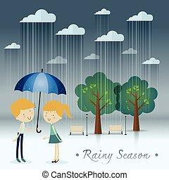 garçon, parapluie, cadeau, saison, parc, girl