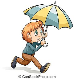 garçon, parapluie