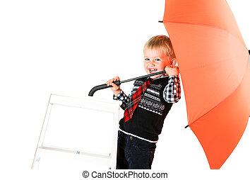 garçon, parapluie, isolé, studio, loughing, backg, blanc, coup