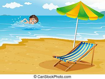 garçon, parapluie plage, lit, natation