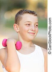 garçon, parc, fitness