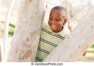 garçon, parc, jeune, américain, africaine, jouer