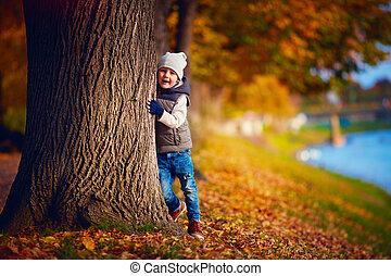 garçon, parc, jeune, automne, amusement, avoir, heureux