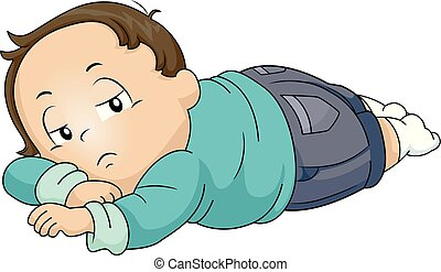 garçon, paresseux, enfantqui commence à marcher, illustration
