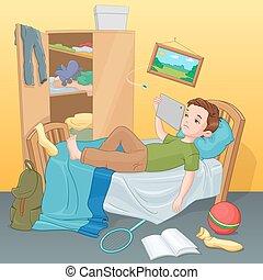 garçon, paresseux, illustration., tablet., lit, vecteur,...