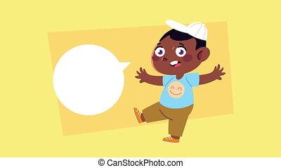 garçon, parler, afro, caractère, heureux, peu, animation
