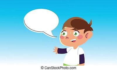 garçon, parler, caractère, heureux, peu, animation