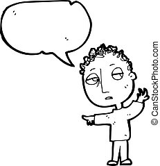 garçon, parole, dessin animé, bulle
