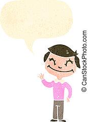 garçon, parole, retro, bulle, dessin animé, heureux