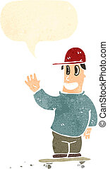 garçon, parole, retro, patineur, bulle, dessin animé