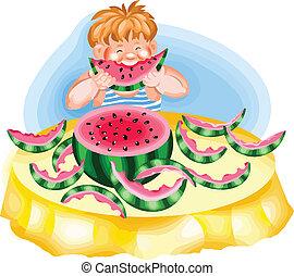 garçon, pastèque mangeant, mûre