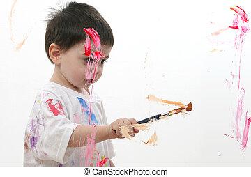garçon, peinture, enfant