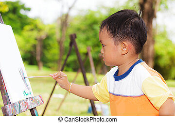 garçon, peinture