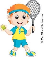 garçon, pelouse, tennis, jouer