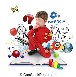 garçon, pensée, science, jeune, livre, education