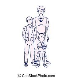 garçon, petit homme, dessin animé, girl