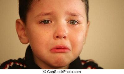 garçon, peu, 2, pleurer