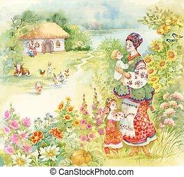 garçon, peu, alimentation, animaux, campagne, sur, aquarelle, ferme, femme, paysage, enfants, folklorique, déguisement