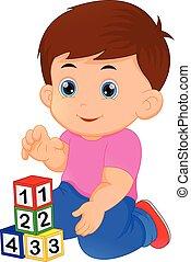 garçon, peu, bloc jouant, alphabet