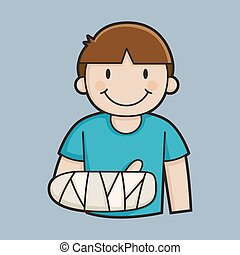 garçon, peu, bras, cassé