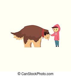 garçon, peu, brun, chouchou, grand, chien, marche, illustration, vecteur, mignon, fond, propriétaire, blanc, sien