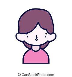 garçon, peu, caractère, portrait, dessin animé, mignon