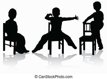 garçon, peu, chaise