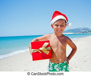 garçon, peu, chapeau, santa