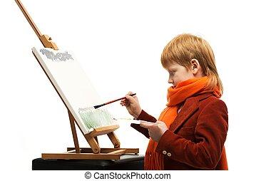 garçon, peu, chevalet, image, roux, dessin